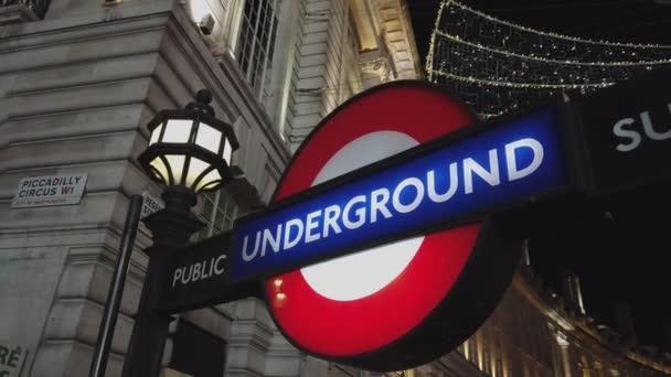 London Underground station at night - LONDON, ENGLAND - DECEMBER 16, 2018
