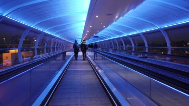 Modern walkway at Manchester airport - MANCHESTER, UNITED KINGDOM - JANUARY 1, 2019