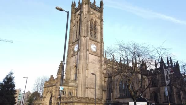 Important landmark in the city the Manchester Cathedral - MANCHESTER, UNITED KINGDOM - JANUARY 1, 2019