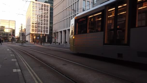 Metrolink tram in the city of Manchester - MANCHESTER, UNITED KINGDOM - JANUARY 1, 2019