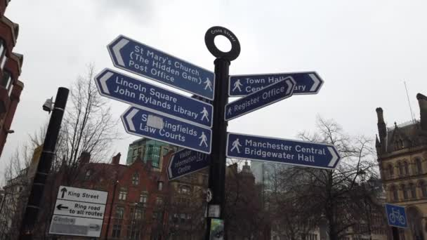 Direction signs in the city of Manchester - MANCHESTER, UNITED KINGDOM - JANUARY 1, 2019