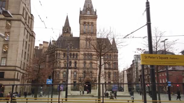 Manchester Town Hall view from St Peters Square - MANCHESTER, UNITED KINGDOM - JANUARY 1, 2019