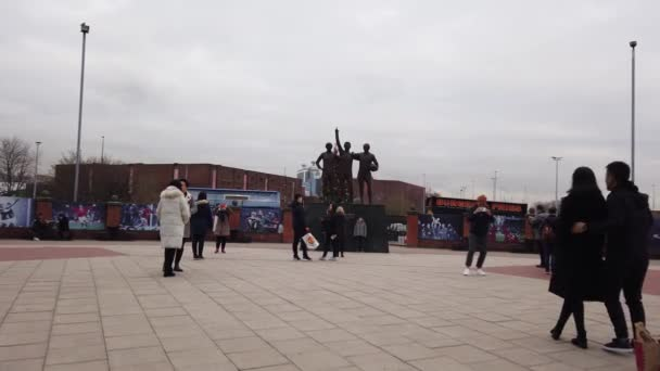 United Trinity statue at Manchester United Football Ground in Old Trafford - MANCHESTER, UNITED KINGDOM - JANUARY 1, 2019
