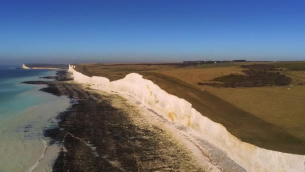 Flight over the white cliffs of the South England coast - aerial view