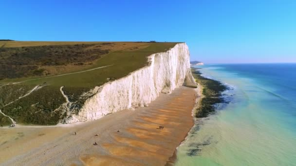 The White cliffs of Seven Sisters from above - aerial view