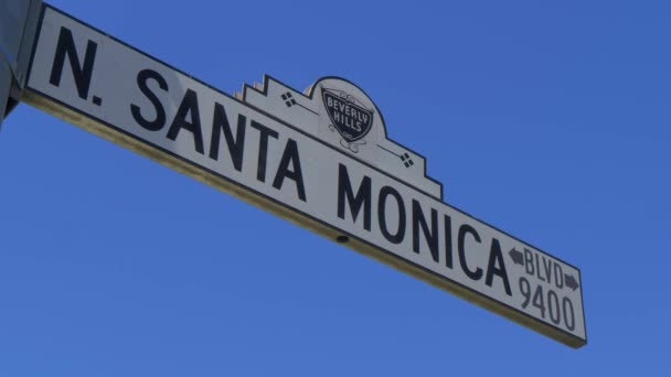 Street sign Santa Monica Boulevard in Beverly Hills - CALIFORNIA, USA - MARCH 18, 2019