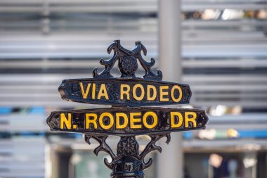Via Rodeo street sign at Rodeo Drive in Beverly Hills - CALIFORNIA, UNITED STATES - MARCH 18, 2019