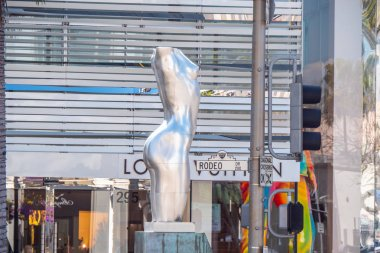 Female body sculpture at Rodeo Drive in Beverly Hills - CALIFORNIA, UNITED STATES - MARCH 18, 2019