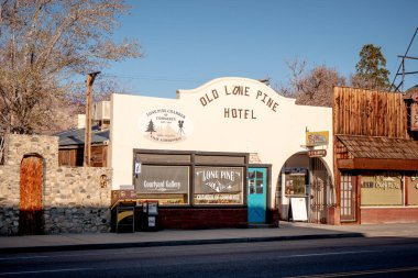 Old Lone Pine Hotel - LONE PINE CA, UNITED STATES OF AMERICA - MARCH 29, 2019 stock vector