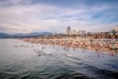 Vista aerea sulla famosa spiaggia di Santa Monica