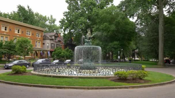 Beautiful fountain in Old Louisville - LOUISVILLE, KENTUCKY - JUNE 14, 2019