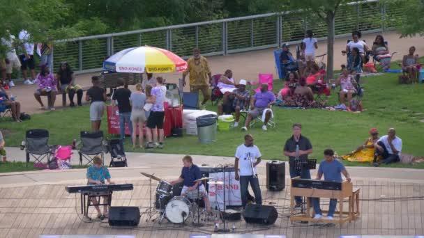 Musicians on stage at Nashville Cumberland Park - NASHVILLE, TENNESSEE - JUNE 16, 2019