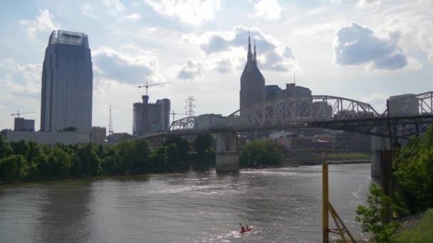 Skyline of Nashville - view from Cumberland River - NASHVILLE, TENNESSEE - JUNE 16, 2019