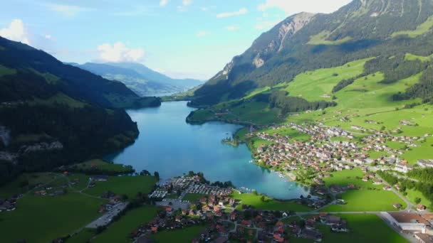 Lake Lungern in Switzerland from above - travel footage