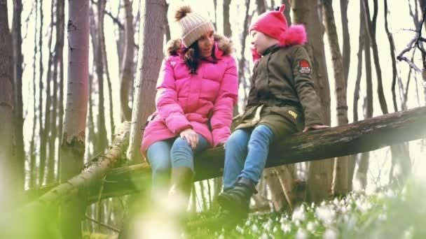 v jarním lese, mezi sněženkami, sedí mladá žena a dívka v pubertě na kládě, velké větvi padlého stromu a mluví. odpoledne. Šťastná rodina v jarním lese