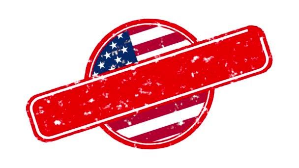 Animace červený prapor s nápisem, slogan. NE SPRAVEDLNOST, žádný mír. Bílé pozadí s vlajkou USA. Protest proti černým vraždám a policejnímu teroru v USA.
