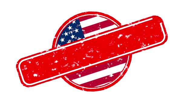 Animace červený prapor s nápisem, slogan. Přestaň diskriminovat. Bílé pozadí s vlajkou USA. Protest proti černým vraždám a policejnímu teroru v USA.