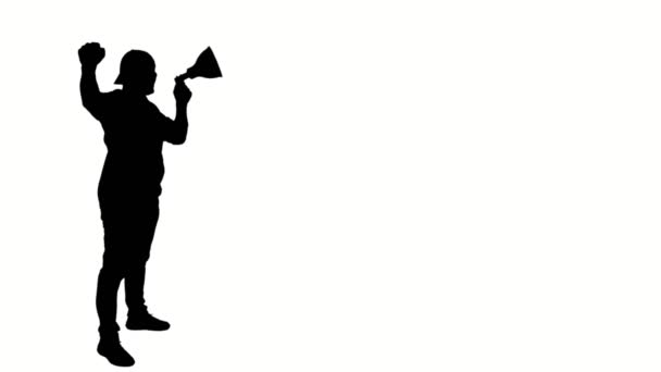 black silhouette of protester holds a megaphone, shouts out slogans, on white background. Activist at a protest, rally, demonstration
