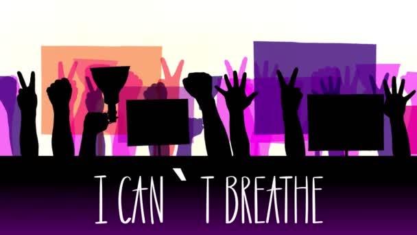 Animace s textem- Nemůžu dýchat. černé siluety protestujících rukou, které drží plakáty, transparenty, megafony. Bílé pozadí. Protest na podporu práv a svobod černochů v USA a