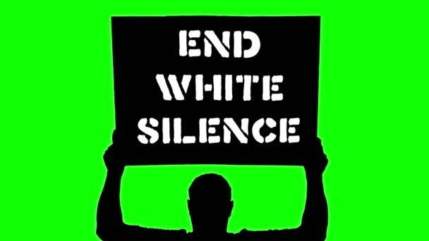 Animace. Černá silueta chráněnce drží plakát s praporem nad hlavou, se sloganem - konec bílého ticha. Zelené pozadí. Protest na podporu práv a svobod černochů v USA a Evropě