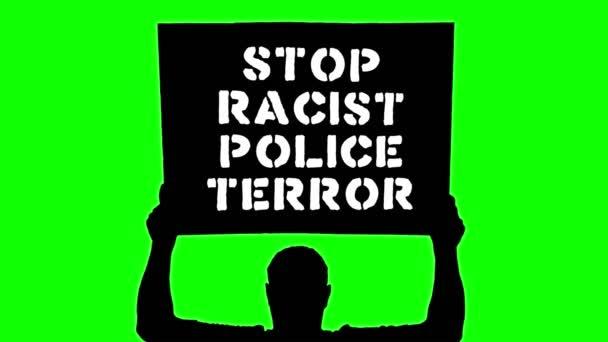 Animace. Černá silueta chráněnce drží plakát s praporem nad hlavou, se sloganem Zastavte rasistický policejní teror. Zelené pozadí. Protest na podporu práv a svobod černochů v USA