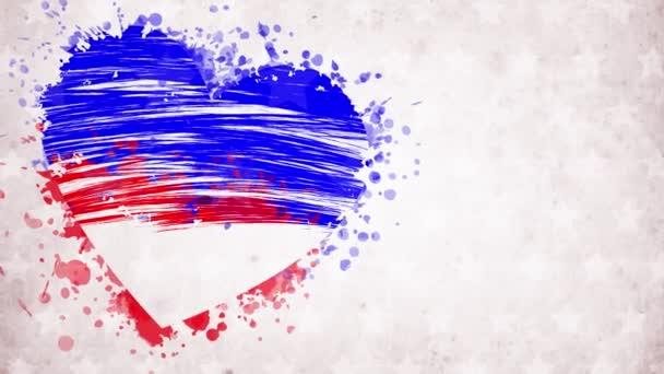 animace. namalované, modročervené srdce s hvězdami, červený nápis Daňový den, na bílém pozadí. Šablona pro národní sváteční banner USA, blahopřání, pozvánka, plakát, leták, atd..