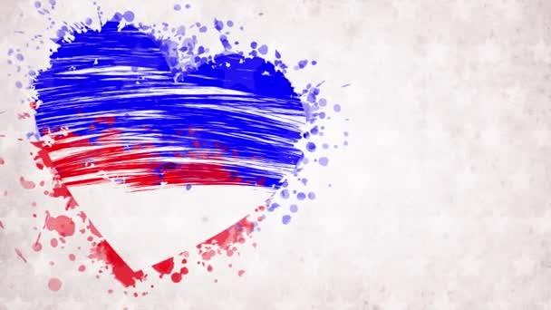 animace. namalované, modročervené srdce s hvězdami, červený nápis San Antonio, USA, na bílém pozadí. Šablona pro plakát, leták, banner, přání k pozdravu, pozvání, atd..