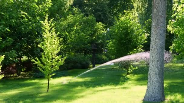 over green lawn, in a park or garden, a sprinkler is working. automatic sprinkler irrigation system or device for watering of lawn