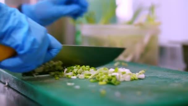Kochen. In Großaufnahme schneidet der Koch in Schutzhandschuhen grüne Zwiebeln auf einem Kochbrett. gesunde Ernährung. Sicherheitskonzept. Wiedereröffnung der Kantine. Freiwilligenarbeit und Wohltätigkeit