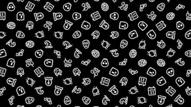 Halloween-Ikonen, Animationsschleife. Nahtloser Musterhintergrund. Kleine Halloween-Symbole rotieren langsam auf schwarzem Hintergrund