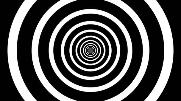 hypnotischer schwarzweißer Hintergrund. geometrische Formen. Abstrakte, nahtlose Schleifenanimation von Kreisen, Streifen. hypnotische Bildvisualisierung. Optische Täuschung.