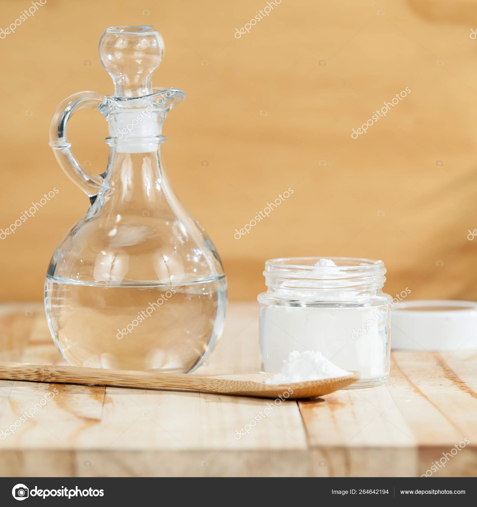 Baking Soda Sodium Bicarbonate Vinegar Wooden Background