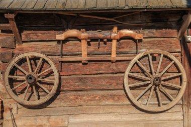 Europe, Romania, Suceava County, Vatra Modovitei. Ciumarna village commune. wheels and yoke for wagon.