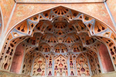 Islamic Republic of Iran. Isfahan. Ali Qapu grand palace, located on the western side of the Naqsh e Jahan Square. UNESCO World Heritage Site. 6th floor Music Hall has deep circular niches in the walls, for both ornamental and acoustic value.
