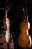 Vista del primo piano di strumento musicale bella corda marrone in legno del violino