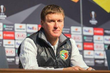 POLTAVA, UKRAINE - OCTOBER 3, 2018: Head coach of FC Vorskla Vasyl Sachko during a pre-match press conference on the eve of the UEFA Europa League match at Vorskla  Sporting at Vorskla stadium