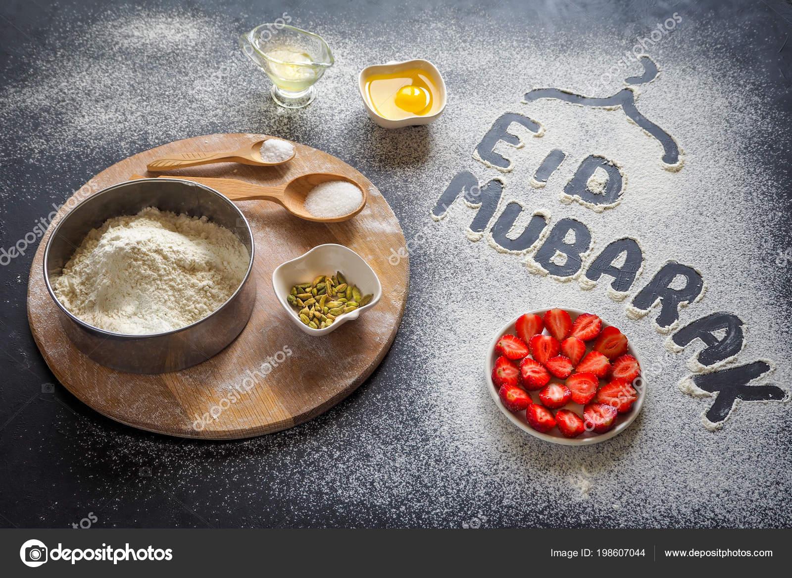 Eid mubarak islamic holiday welcome phrase happy holiday eid mubarak islamic holiday welcome phrase happy holiday greeting reserved strawberry open cake arabic cuisine background photo by sablinstanislav m4hsunfo