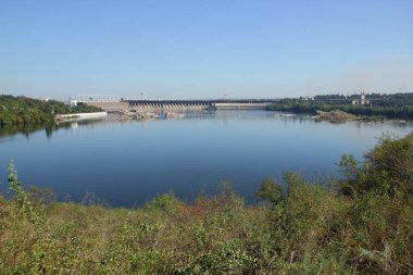 DneproGES. Hydroelectric power station on Dnieper River in Ukraine. Creation of electricity on water