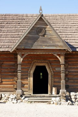 Wooden buildings. Wooden houses of Cossacks. Outbuildings at Zaporizhzhya Sich on island of Khortytsya in Ukraine. Medieval way of life