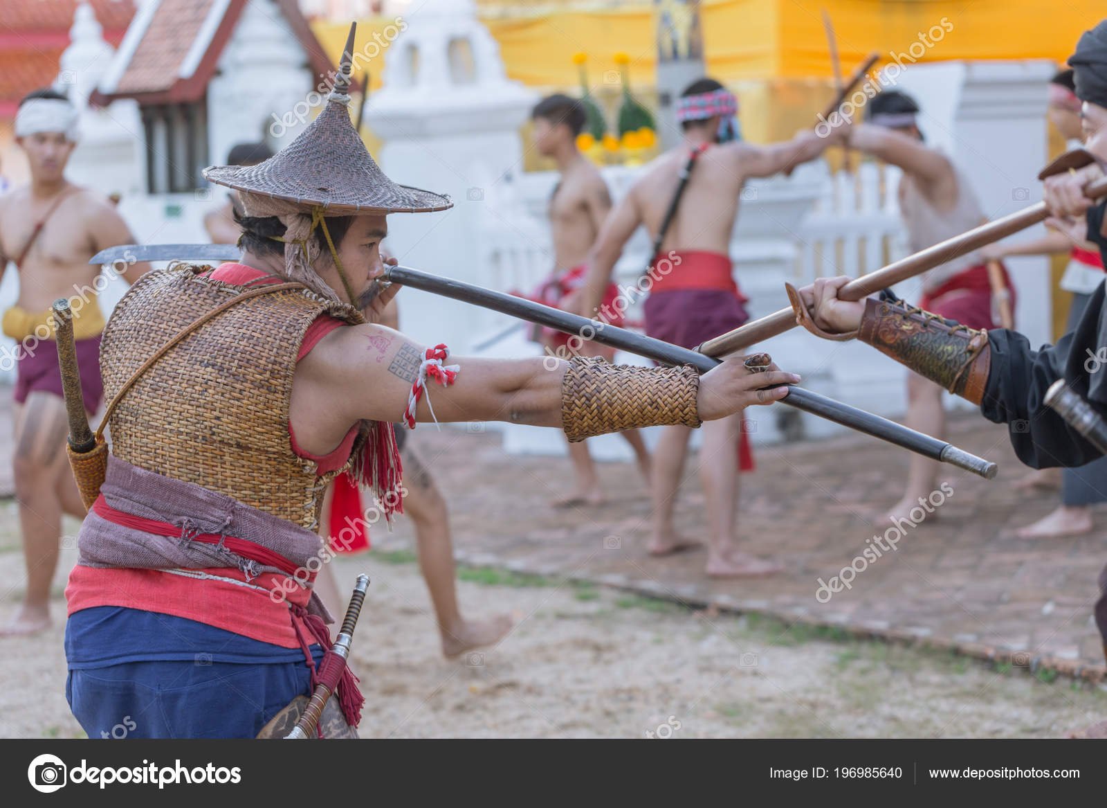 Thai Ancient Warrior Swordsmanship Fighting Action Sword