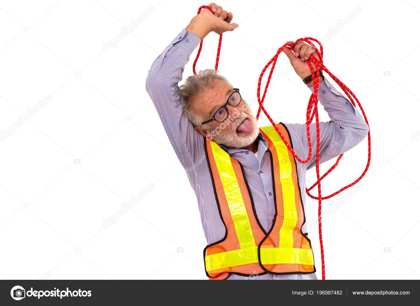 Lustige Oberingenieur Selbstmord Seil Alter Mann Arbeiter Tun Selbst