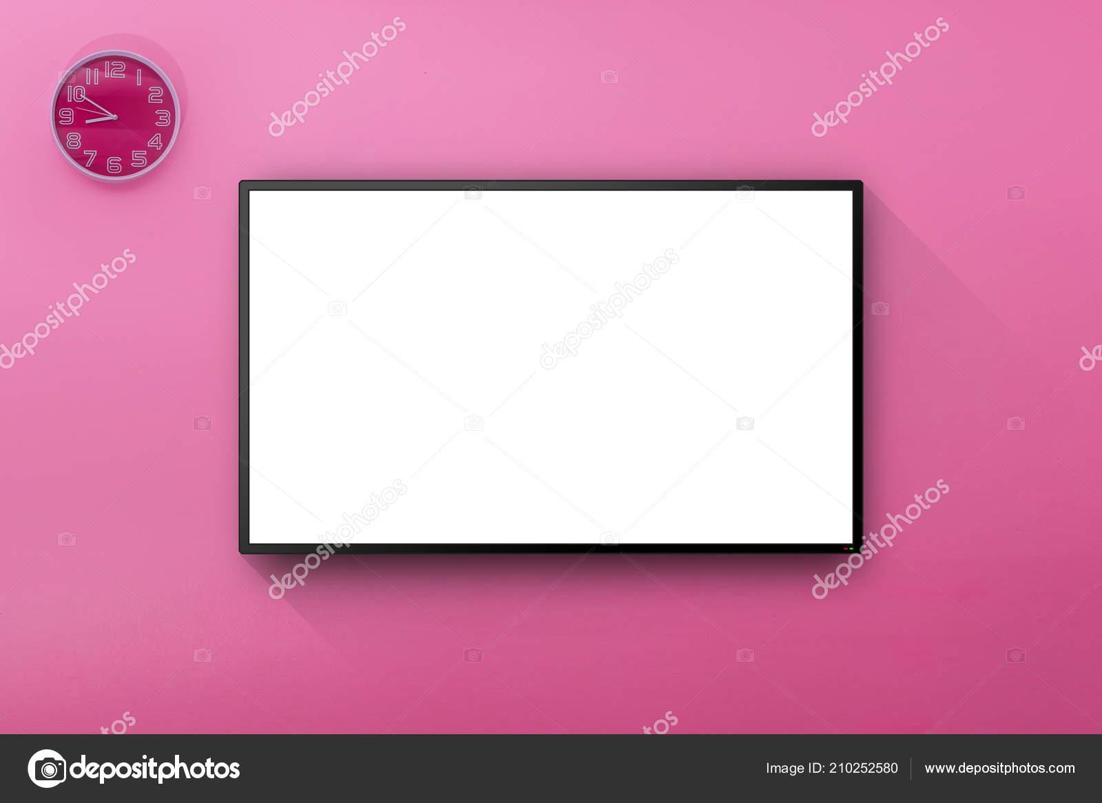Lcd Fernseher Zimmer Rosa Wand Mit Der Wand Hängen Uhr Stockfoto