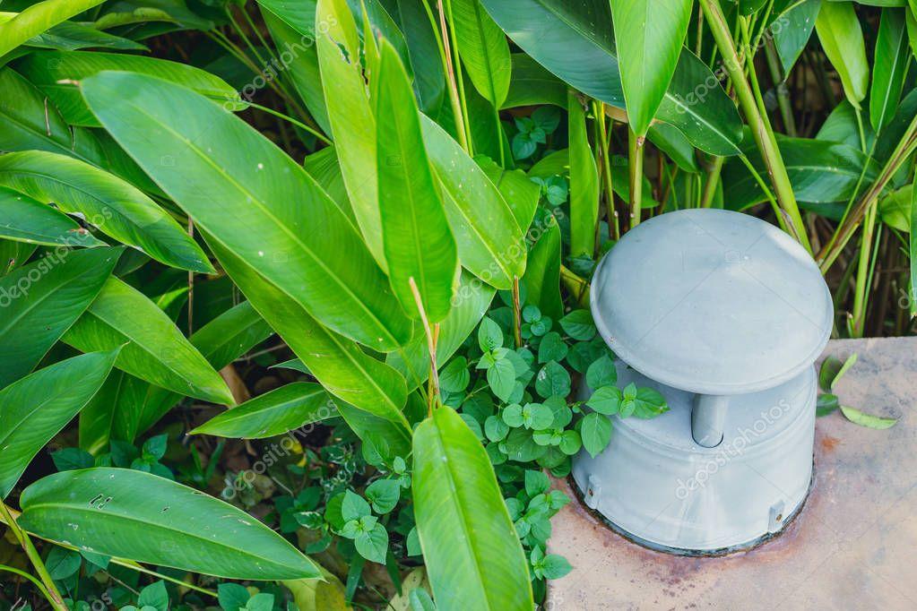 outdoor loud garden speaker sound music in backyard.
