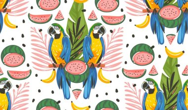 Hand drawn vector abstract cartoon summer time graphic decoration illustrations seamless pattern with exotic tropical rainforest Parrot Macaw birds,watermelon and banana isolated on white background