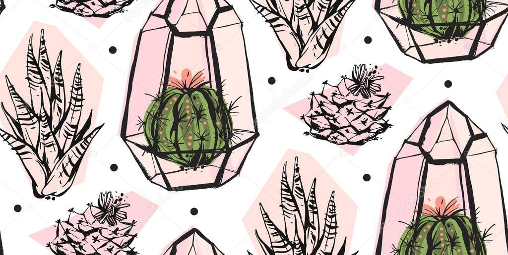 Hand drawn vector abstract seamless pattern with terrarium,polka dots texture and cacti plants in pastel colors isolated on white bakground.Design for decoration,fashion,fabric,wrapping,save the date.