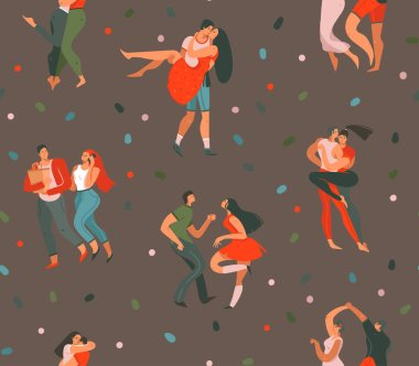 Hand drawn vector abstract cartoon modern graphic Happy Valentines day concept illustrations art seamless pattern with dancing couples people together isolated on brown color background. clip art vector