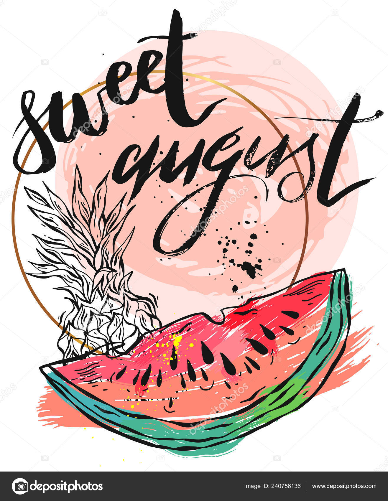 Vector illustration card with inscription Sweet august with