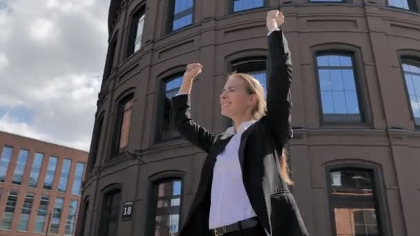 Winning Excited Businesswoman Celebrating Success of Results