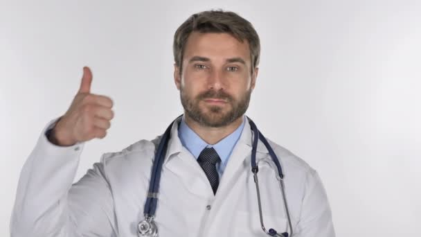 Portrét doktor ukázal palec nahoru