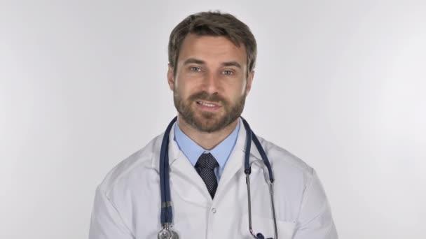 Online Video Chat, lékař, bílé pozadí